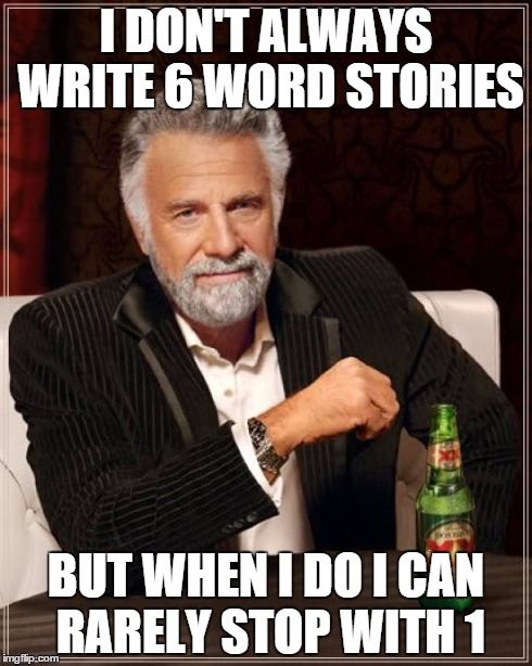 I don't always write six word stories but when I do I rarely stop with just one