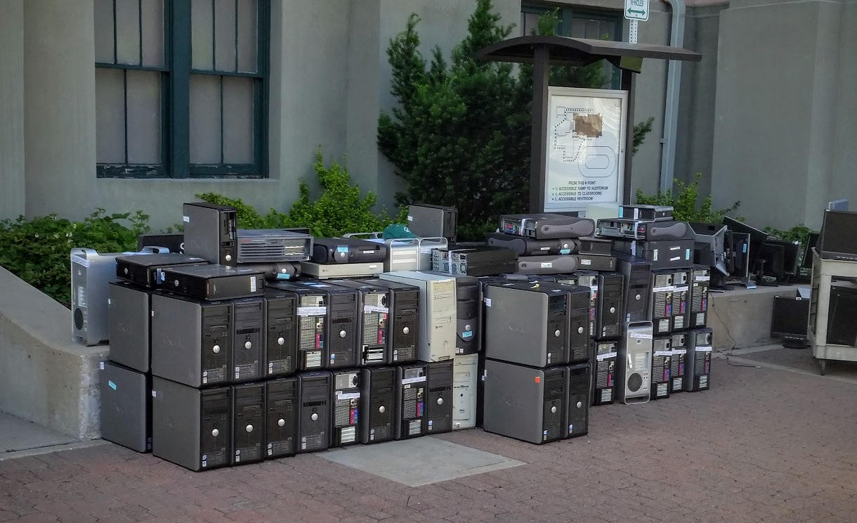 computers set on curb for discard